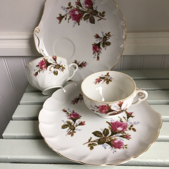 Vintage Moss Rose Tea Cup Snack Set, Set of Two